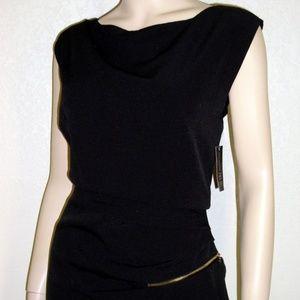 I.N.C. NWT Ruffled Zipper Detail Black Dress